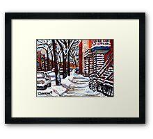WINTER SNOWSTORM VERDUN MONTREAL STREET SCENES CANADIAN ART Framed Print