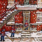 VERDUN DUPLEXES IN WINTER SNOWY DAY IN MONTREAL KIDS PLAYING HOCKEY IN THE STREET by Carole  Spandau