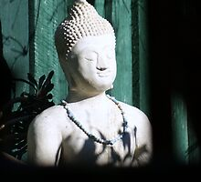 Budda sitting in garden by Margherita Coppolino