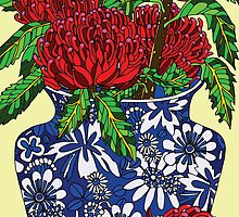still life with waratah in blue chinese vase by genevievem