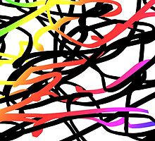 Abstract Black & Rainbow by juststickit