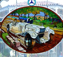 Vintage Mercedes stain glass window ~ Monterey by Marjorie Wallace