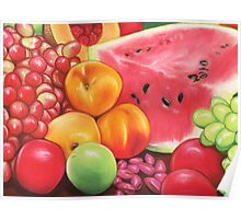 Peaches, Watermelon, Grapes, Apples...Fruit Still Life Poster