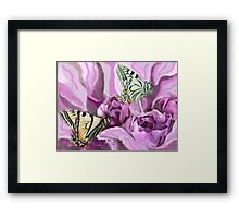 Butterflies and Roses Framed Print