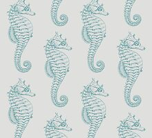 Tropical Seahorses (Seahorse Pattern) - Blue by sitnica