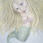 Curious Mermaid (Graphite & Colored Pastel Chalk) by Nicole I Hamilton