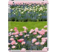Pink Foxtrot tulips with blue flowers iPad Case/Skin