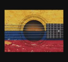 Old Vintage Acoustic Guitar with Colombian Flag Kids Clothes
