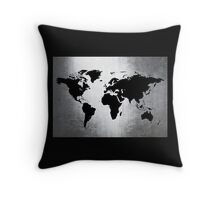 World Map Metal Throw Pillow