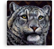 Chevron - Snow Leopard Painting with Purple and Gold Chevron Pattern Canvas Print