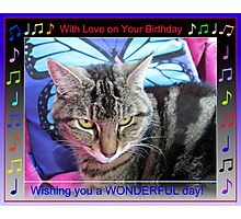 Funky Feline Birthday Card with Music Notes Photographic Print