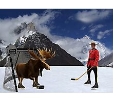 NOW THATS REAL CANADIAN HOCKEY...STARRING MOOSE AS GOALIE...R.C.M.P. MOUNTIE (POLICE) PICTURE AND OR CARD,PRINTS ECT. Photographic Print