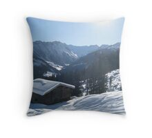 Snowy shed Throw Pillow