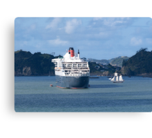 The Queen Mary 2 and the R. Tucker Thompson.........! Canvas Print