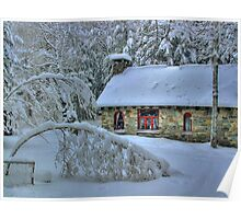 Stone House After Snowstorm Poster