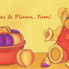 Teddy Bear with Peaches &amp; Plums   by Paula Parker