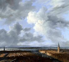 Jacob von Ruisdael – The National Gallery (London) L 1052 (on loan from a private collection). A Panoramic View of Amsterdam looking towards the IJ (c. 1665-1670) by Adam Asar