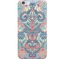 Botanical Geometry - nature pattern in red, blue & cream iPhone Case/Skin