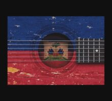 Old Vintage Acoustic Guitar with Haitian Flag Kids Clothes