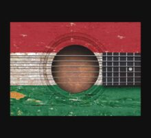 Old Vintage Acoustic Guitar with Hungarian Flag Kids Clothes