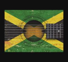 Old Vintage Acoustic Guitar with Jamaican Flag Kids Clothes