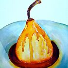 Delicious..Poached Pear in a  Mixed Berry Coulis by  Janis Zroback