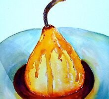 Delicious..Poached Pear in a  Mixed Berry Coulis by © Janis Zroback