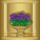 Violets In Antique Vase by lydiasart