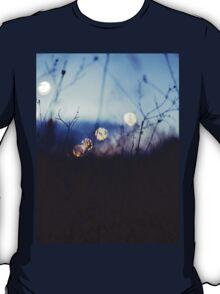 Long wild grass on summer evening twilight dusk blue bokeh square Hasselblad medium format film analog photo T-Shirt