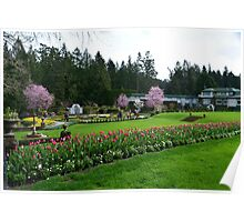 The Butchart Gardens in spring time. Italian Garden. Poster