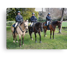 Three CHP officers and their three CHP riders Canvas Print
