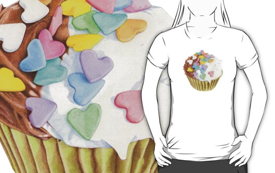 Cupcake Hearts T-shirt by Mariana Musa