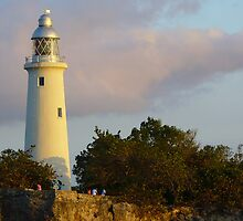 sunset on Negril lighthouse  by Linda Bianic
