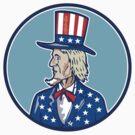 Uncle Sam TopHat American Flag Cartoon by patrimonio