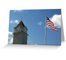 Clock Tower &  US Flag  - Jackson Outlet Mall - Jackson NJ - 1 Greeting Card