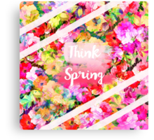 Spring girly pink typography watercolor floral  Canvas Print