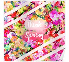 Spring girly pink typography watercolor floral  Poster