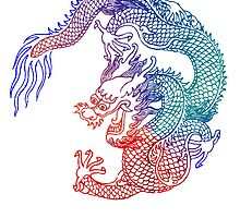 Asian Art Rainbow Dragon by Zehda