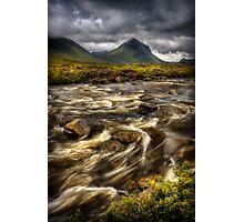 Marsco and swollen river at Sligachan, Isle of Skye. Scotland. Photographic Print