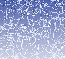 Modern blue ombre chic handdrawn flowers pattern  by GirlyTrend