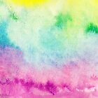 Abstract yellow pink blue handpainted watercolor by GirlyTrend