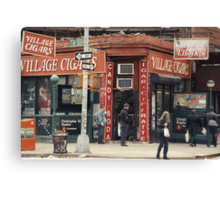 Village Cigars - New York City Store Sign Kodachrome Postcards  Canvas Print