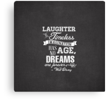 Laughter is Timeless in Mickey Black Canvas Print