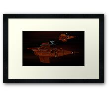Blake's 7 federation pursuit ships on course Framed Print