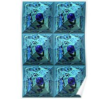 Blue waterpearl on an abstract pyramid  Poster
