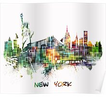 New York City skyline colored cube Poster
