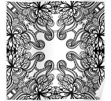floral lineart pattern Poster