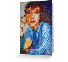 Carmel - Portrait Of A Woman In A Blue Dress Greeting Card