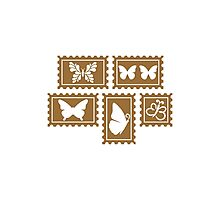 Butterfly stamp collection Photographic Print