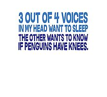 3 out of 4 voices in my head want to sleep The other wants to know if penguins have knees. Photographic Print